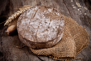Delicious french cheese on burlap
