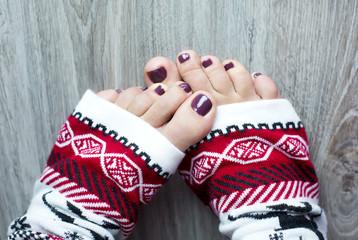 Feet in a christmas socks