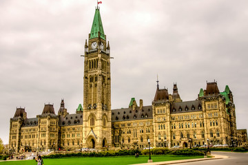 Main building of the Parliament of Canada in Ottawa, HDR image.