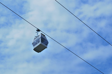 Cable car travelling against sky