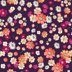 cute ditsy floral on deep purple seamless background