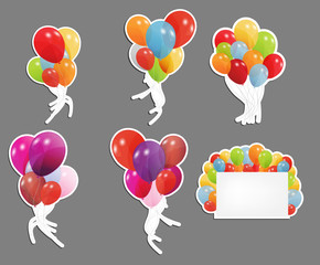 set of labels with colored ballons, vector illustration