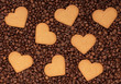 coffee beans with valentines heart shape texture