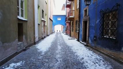 Walking through the old town in Warsaw, Poland