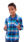 Portrait of a cute african american little boy making thumbs up