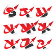Swoosh Arrow Alphabet Icons Set 3