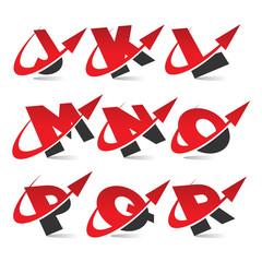 Swoosh Arrow Alphabet Icons Set 2