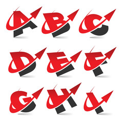 Swoosh Arrow Alphabet Icons Set 1