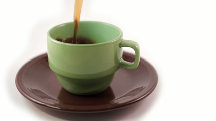 Green Coffee Cup Pouring