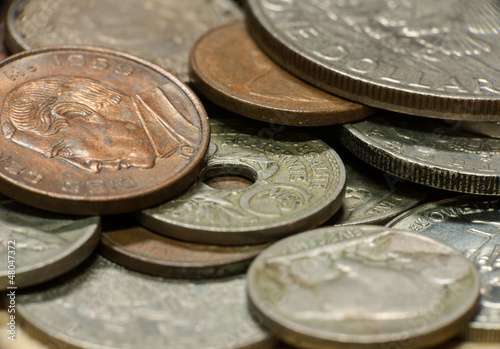 Macro shot of old coins