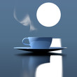 hot drink cup under the moonlight 3d illustration