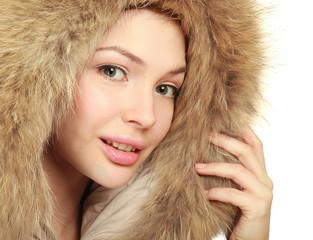 closeup portrait of beautiful young woman in fur