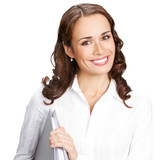 Smiling businesswoman with grey folder, isolated