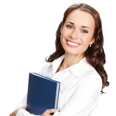 Smiling businesswoman with blue folder, on white