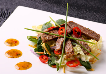 Modern Thai Beef Salad Closeup