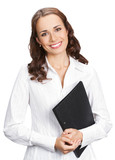 Smiling businesswoman with black folder, on white