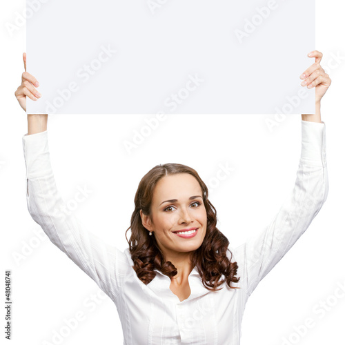 Woman showing blank signboard, isolated