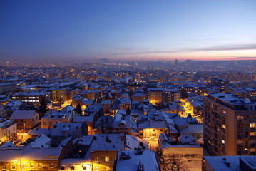 Sunset over Belgrade Covered by Snow