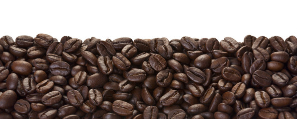 Brown coffee beans for background and texture, isolated