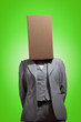 Business woman with a cardboard box head