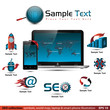 SEO collection: symbols, world map, laptop & smart phone