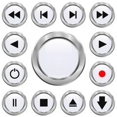 Jeu de boutons vidéo blancs