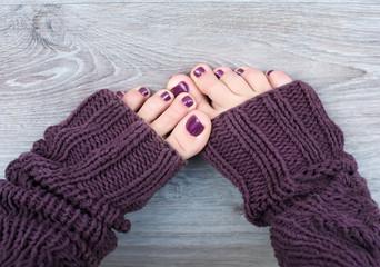 Female feet in brown socks