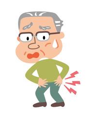 腰痛に悩む高齢者の男性