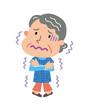 悪寒のする高齢者の女性
