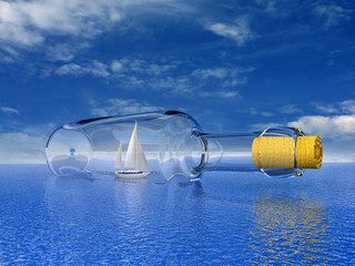 Sailing yacht in the bottle. Concept - protection of travel.