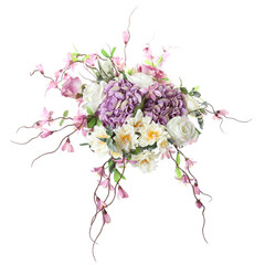 floral arrangement of artificial flowers on a white background