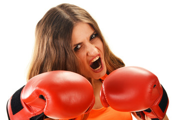 Portrait of young woman with red boxing gloves