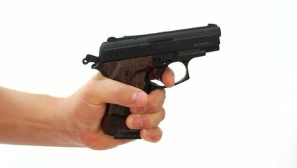 Hand with gun, on white background