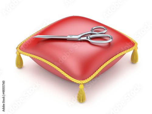 Red pillow with scissors