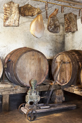 Interior of very old wine cellar with vintage wine