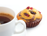 cupcake with guelder-rose berry and raisin and coffee cup