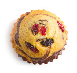 cupcake with guelder-rose berry and raisin top view