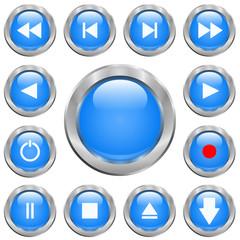 Jeu de boutons vidéo bleus