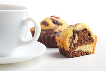 cupcake with raisin and coffee cup