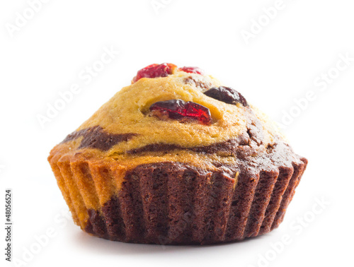 home made cupcake with guelder-rose berry and raisin