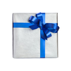 silxer gift box with blue ribbon