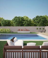 sofa near swiming pool