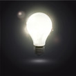 bulb light in the dark. Realistic vector design.