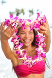 Hawaii woman showing flower lei garland