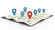 Leinwandbild Motiv map with Pin Pointers