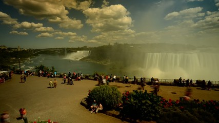Timelapse of tourist crowd  at Niagara Falls time lapse