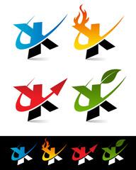 Swoosh Alphabet Icons X