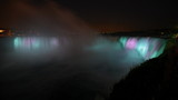 Night illumination timelapse of horseshoe Niagara falls