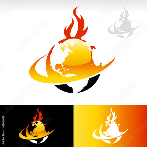 Swoosh Fire Earth Icon