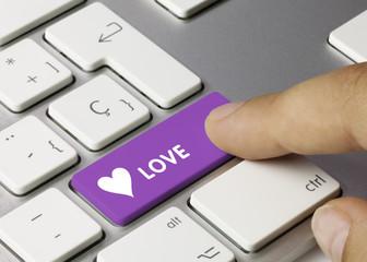Love keyboard key. Finger